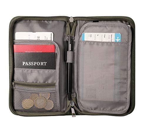 Family Passport Holder, RFID Travel Passport Wallet, Travel Card Organizer with Passport Cash Card Key Phone Slots, Documents Organizer Zipper Case for Men and Women, Green