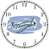 F4F Wildcat Airplane or Air Plane Wall Clock by WatchBuddy Timepieces (Black Frame)