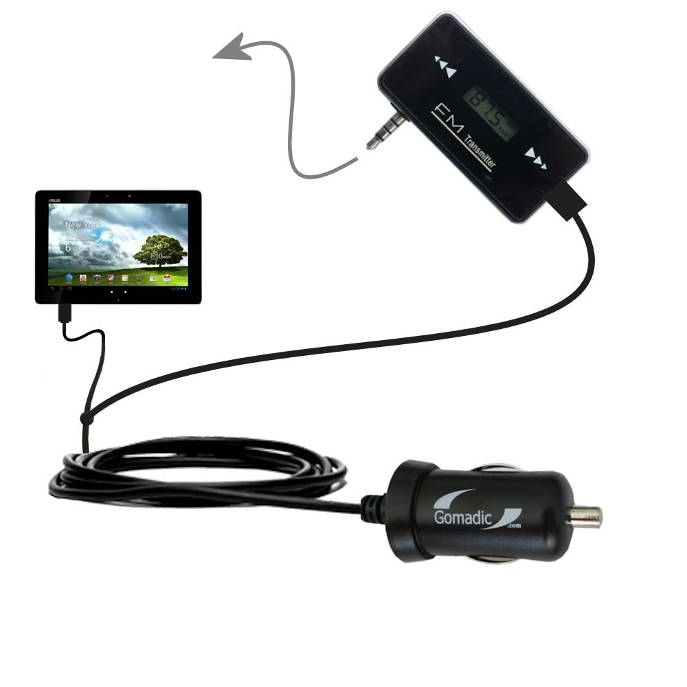 3rd Gen FM Transmitter with Micro Rapid Car Charger compatible with the Asus MeMo Pad Smart 10