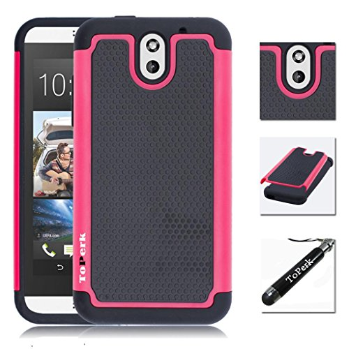 [ HTC Desire 610 ] ToPerk (TM) Cyber Grid Armor Case + Free HD Screen Protector & Stylus Pen As Bundle Sale - Pink