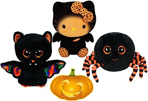 Ty Beanie Boos Halloween Crawly Spider, Scarem Bat, and Hello Kitty Bat Set of 3 Scary Friends with Bonus Pumpkin (Hello Kitty Halloween Pumpkin)