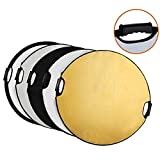 Abaige 5-in-1 Handle 24inch / 60cm Round Reflector with Grip for Photography Photo Studio Lighting & Outdoor Lighting
