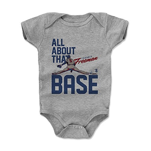 500 LEVEL Freddie Freeman Baby Clothes, Onesie, Creeper, Bodysuit 6-12 Months Heather Gray - Atlanta Baseball Baby Clothes - Freddie Freeman Base B -