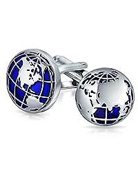 Blue Globe World Map Earth Cufflinks for Men