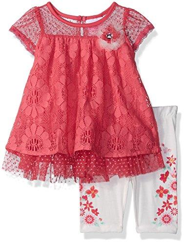 Pink Lace Capri 2 Piece - Nannette Baby Girls 2 Piece Floral Lace Capri Set, Pinkd, 6-9 Months
