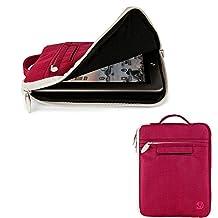 "Travel Carrying Case Tablet Pouch Sleeve Cover 7""-8"" for iPad Mini 4 / Asus ZenPad S8 / Hisense Sero 8 Pro / LeapFrog LeapPad3 / Samsung Galaxy Tab S2 8.0 / Archos Diamond Tab (White/Magenta)"