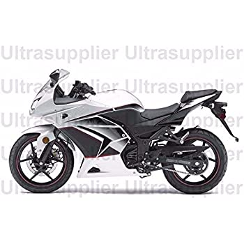 FocusAtOne White Black Grey Complete Fairing Bodywork Painted ABS Plastic Injection Molding Kit For 2008 2012 Kawasaki Ninja 250R EX250 2009 2010 2011