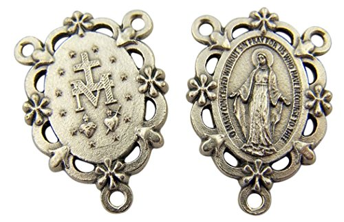 Rosary Medal Miraculous Centerpiece (Silver Toned Base Our Lady of Grace Miraculous Medal Rosary Centerpiece, 1 1/4 Inch)