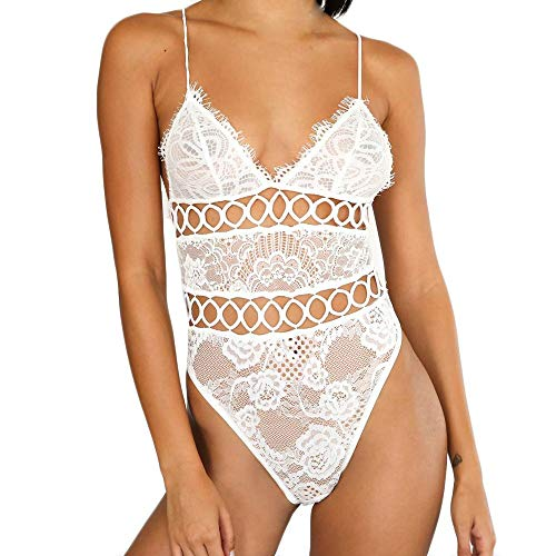 Pongfunsy Women Sexy Lingerie Women Crotch Lingerie Sexy Lace Bodysuit Deep V Teddy One Piece Lace Babydoll (M, White)