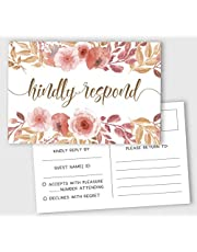 """Inkdotpot RSVP Postcards (Set of 50) 4""""X6"""" Blank with Mailing Side,RSVP Reply Response Cards for Wedding Floral Print Return Cards"""