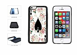 Ace Of Spades On Floral Background Dual Layer Phone Case Back Cover Apple iPhone 6 Plus (5.5 Inches)