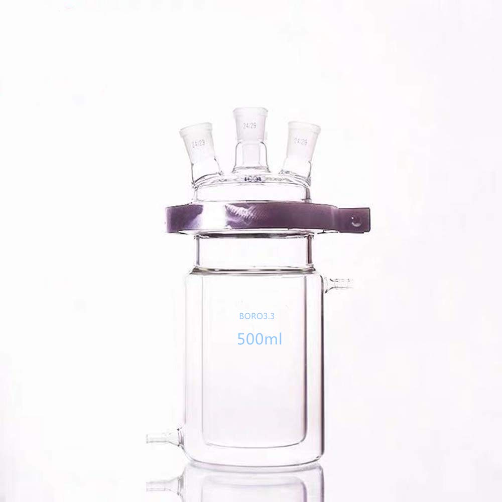 500ml laboratory glass reactor, open jacket double-layer reaction flask (24/24/24 three-port joint) by Futt