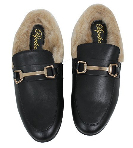 Paprika Womens Gold Tone Horsebit Furry Backless Slip On Mocassino Nero Mulo
