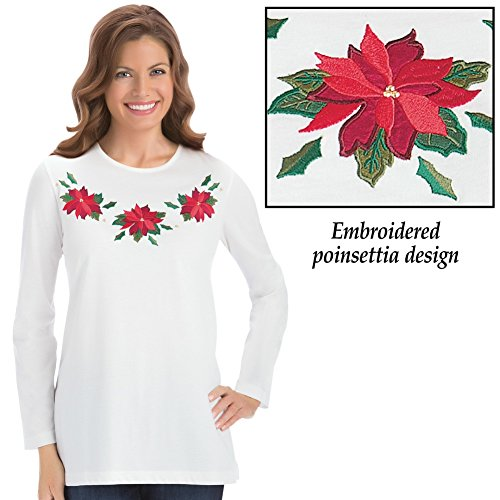 Embroidered Holiday Poinsettia Machine Washable