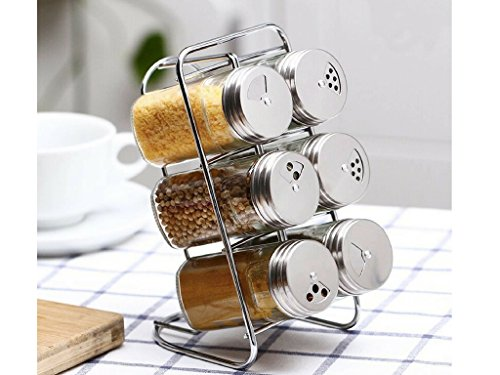 (Suregem Spice Rack Organizer And Glass Jars With Revolving Stainless Steel Lids For your Regularly Used Spices And Herbs)
