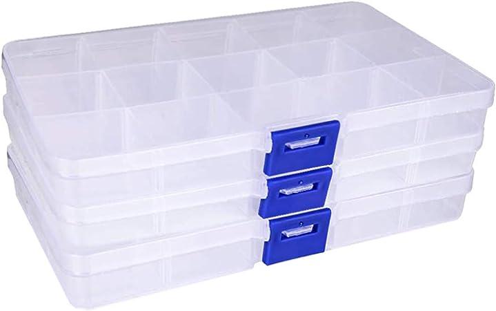 N\O 3 PCS Ajustable Caja de Almacenamiento de Plástico, Transparente Organizaador con Separadores Ajustables Organizador de Joyería Contenedor de Herramientas(2.2x6.6x13cm): Amazon.es: Hogar