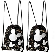 Disney Mickey Mouse Drawstring Backpack Silver 2 Pack