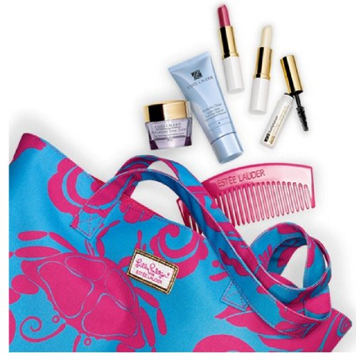 Estee Lauder 2013 Summer Getaway 7 Pieces Makeup Skincare Gift Set with Lilly Pulitzer Beach Tote