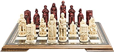 Shakespeare and the Globe - Chess Set - Handmade - Ivory and Burgundy - 5.25 Inches