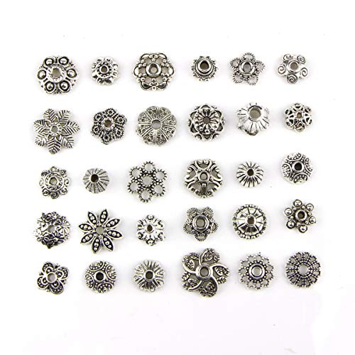 (150PCS 8-15mm Wholesale Bulk Lots Silver Charms Tibetan Silver Mixed Tone Flower Bead Caps Hollow Flower Bead Caps for DIY for Necklace Bracelet Jewelry Making)