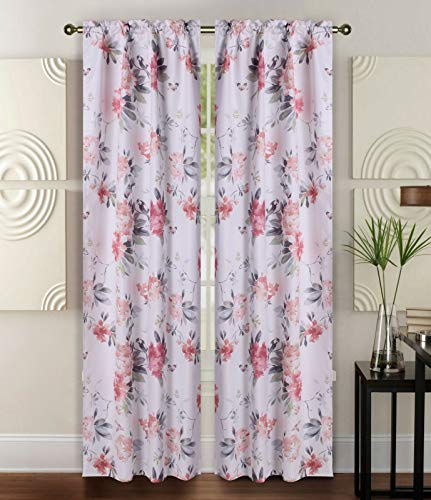 Sapphire Home 2 Rod Pocket Curtain Panels 84 Inches, Decorative Bird/Floral Print, Light Filtering Room Darkening Thermal Foam Back Lined Curtain Panels for Living/Bedroom/Patio, Pink/Gray/White, W8
