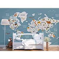 Animals Map Wallpaper for Kids Bedroom Playroom Removable Fabric Wall Mural for Nursery Self-adhesive Geography Wall Decal Peel and Stick