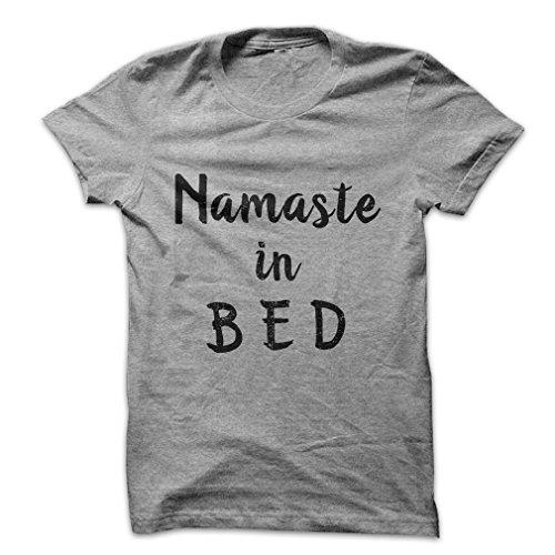 Mad Over Shirts Namaste In Bed Sleepy Hindi Meme Men's XXL Heathered White T Shirt