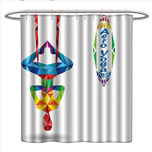 Body Image Shower Cap - Yoga Shower Curtain Collection by Aerial Aero Anti-Gravity Yoga Theme Colorful Triangles Fractal Style Human Body Image Patterned Shower Curtain W36 x L72 Multicolor