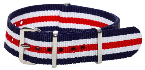 Clockwork Synergy Classic Nylon Nato watch straps bands (20mm, Blue / Red / White)