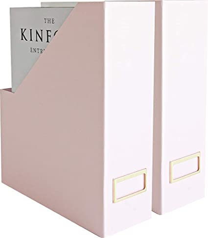 Blu Monaco Foldable Pink Magazine Holder with Gold Label
