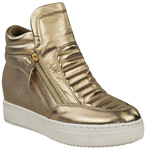 Fashion Thirsty Womens Mid Heel Wedge Sneakers High Top Trainers Ankle Boots Size 9
