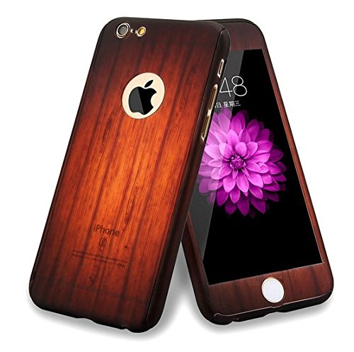 Price comparison product image iPhone 6 Plus / 6s Plus Full Body Hard Case-Aurora Black Front and Back Cover with Tempered Glass Screen Protector for iPhone 6 Plus / 6s Plus 5.5 Inch (wood black)