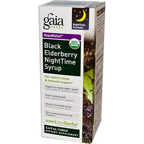 Gaia Herbs, Rapid Relief, Black Elderberry NightTime Syrup, 5.4 fl oz (160 ml) - 3PC by Gaia Herbs