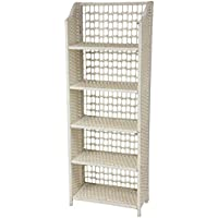 Oriental Furniture 53 Natural Fiber Shelving Unit - White
