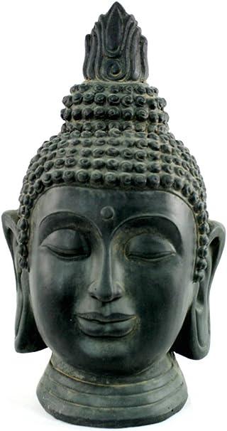 La cabeza de Buddha tamaño grande - efecto bronce resina: Amazon.es: Jardín