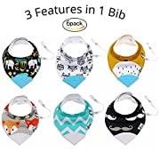 Tickles & Wiggles Organic Cotton Bandana Baby Bibs for Teething, Drool, Food - Shower Registry Gifts for Infant Boys & Girls, BPA Free Silicone Teether, Adjustable Nickel-Free Snaps, Pacifier Tether