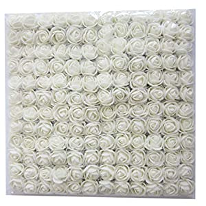Artfen Mini Fake Rose Flower Heads 144pcs Mini Artificial Roses DIY Wedding Flowers Accessories Make Bridal Hair Clips Headbands Dress (Bottom add Gauze) White 28