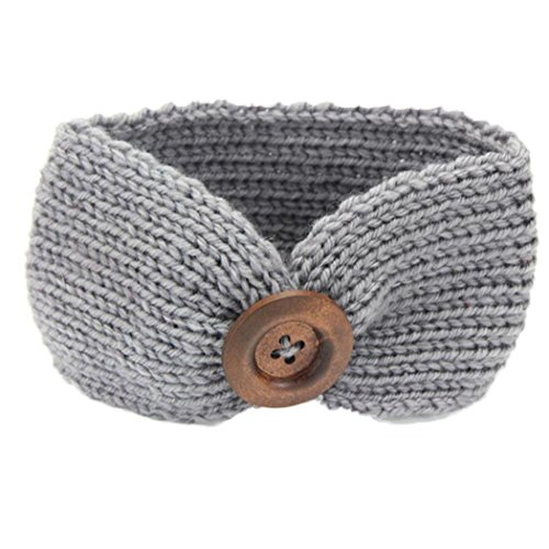 Sothread 1PCS Baby Knitting Infant Girl Button Headbands Head Wrap Knotted Hair Band (Gray)