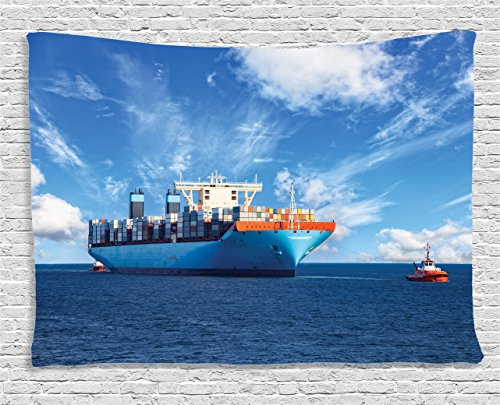 Ambesonne Nautical Decor Collection, Tugboats Assisting Cargo Ships to Harbor in Sunny Day Time Trading Merchandise Image, Bedroom Living Room Dorm Wall Hanging Tapestry, 80 X 60 Inches, Blue - Tug Nautical