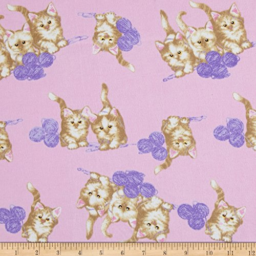 - A.E. Nathan 0471958 Comfy Flannel Cats and Yarn Pink Fabric by The Yard