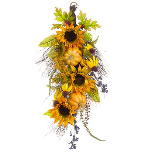 26'' Artificial Pumpkin, Sunflower & Berry Door Teardrop Flower Swag -Butterscotch/Amber (pack of 4) by SilksAreForever