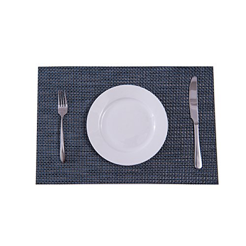 Large Product Image of Set of 4 Placemats,Placemats for Dining Table,Heat-resistant Placemats, Stain Resistant Washable PVC Table Mats,Kitchen Table mats(Navy)