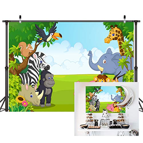 Xingouchen Photography Backdrops 9x6ft Vinyl Cartoon Zoo Animals Photo Backgrounds Newborn Baby Shower Birthday Party