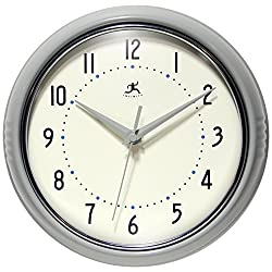 Infinity Instruments Grey Decorative Retro Wall Clock | 9.5 inch Classic Retro Clock | Made from Real Aluminum Metal | Silent Non-Ticking Quiet Quartz Movement