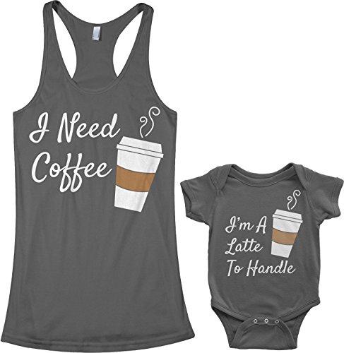 Threadrock Coffee & Latte Infant Bodysuit & Women's Racerback Tank Set (Baby: 6M, Charcoal|Women's: M, Charcoal)