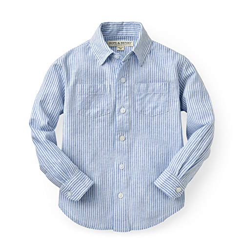 Boys Dressing Up Outfit (Hope & Henry Boys' Blue and White Linen Button-Up)