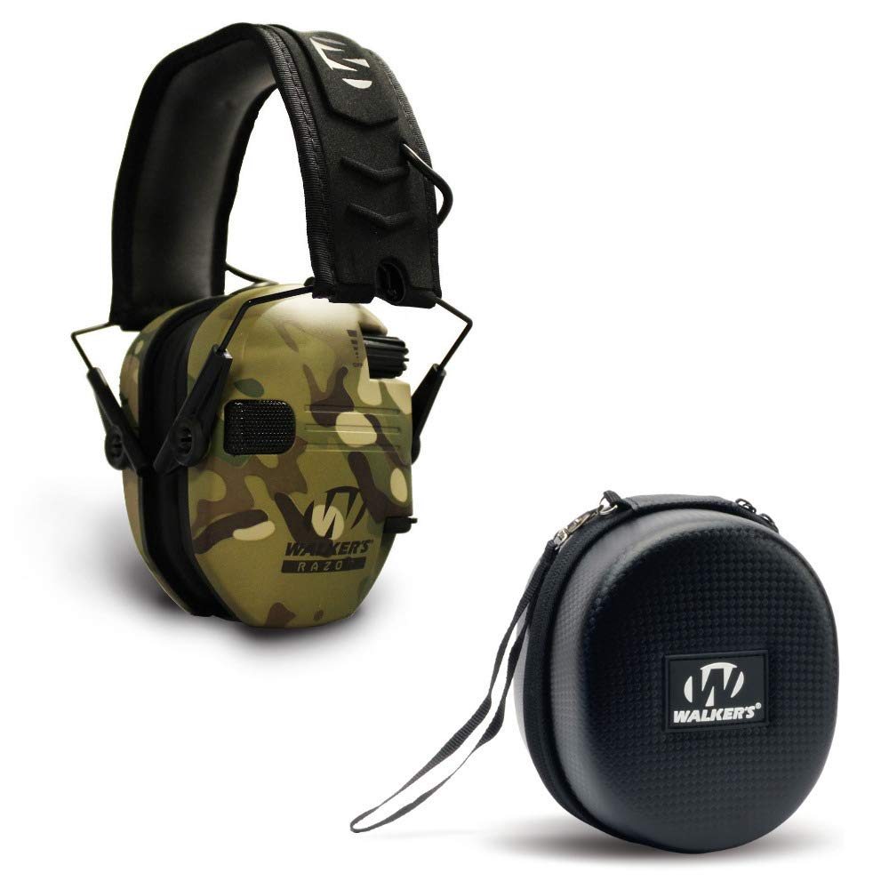 Walkers Razor Slim Electronic Shooting Hearing Protection Muff (Sound Amplification and Suppression) with Protective Case, Tan by Walkers (Image #1)