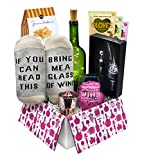 Wine Gift Basket Box with Wine Socks, Wine Aerator, Funny Wine Glass and more | Gifts for Women