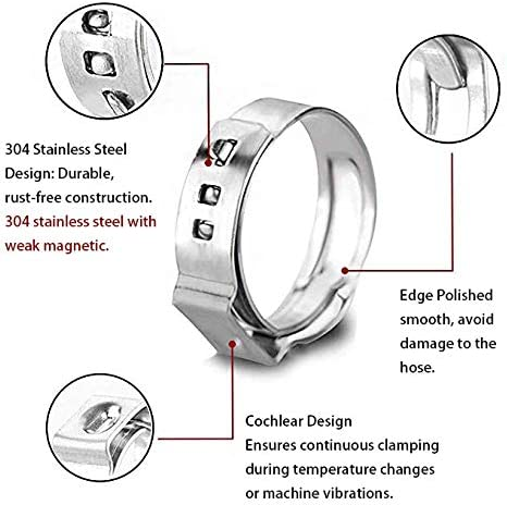 15.3MM Stainless Steel 304 Single Ear Hose Clamps Fastener /& Clip 100 Pieces of 10 Specifications Stainless Steel Single Ear Clamp 5.3MM