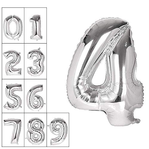 Lovne 40 Inch Jumbo Silver Number 4 Balloon Giant Prom Balloons Helium Foil Mylar Huge Number Balloons 0 to 9 for Birthday Party Decorations Wedding Anniversary
